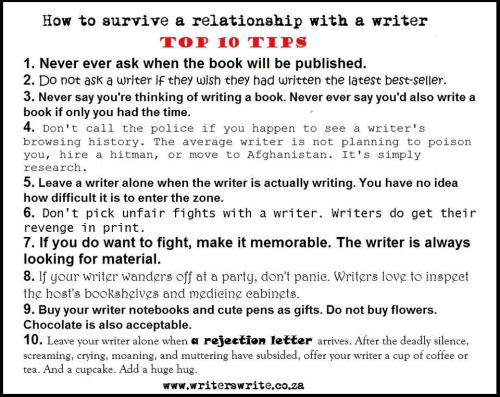 10 tips for living with a writer